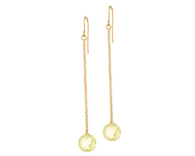 Rhodium Plated Brass Earrings with Glass