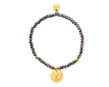 Gold Plated Brass Bracelet with Hematite and Cubic Zirconia - Libra