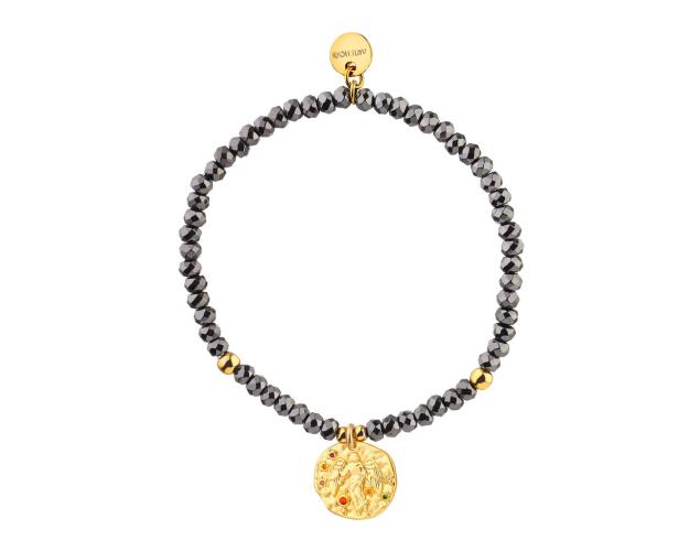 Gold Plated Brass Bracelet with Hematite and Cubic Zirconia - Virgo