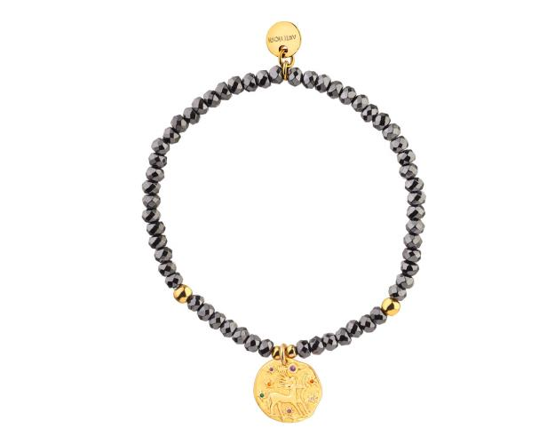 Gold Plated Brass Bracelet with Hematite and Cubic Zirconia - Sagittarius