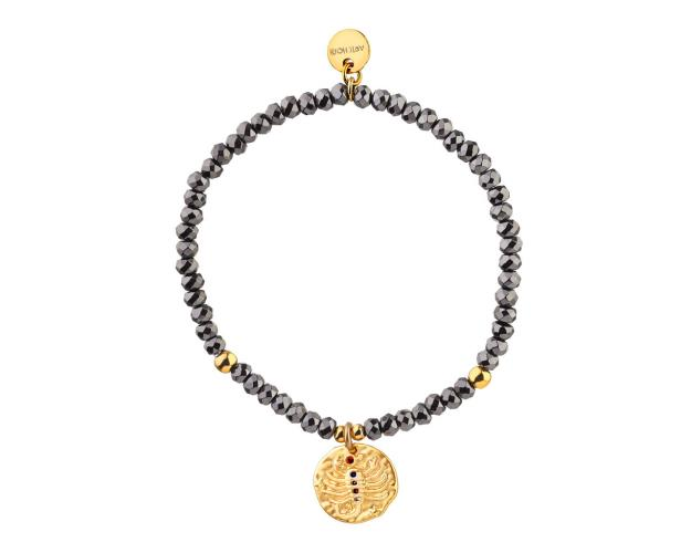 Gold Plated Brass Bracelet with Hematite and Cubic Zirconia - Scorpio