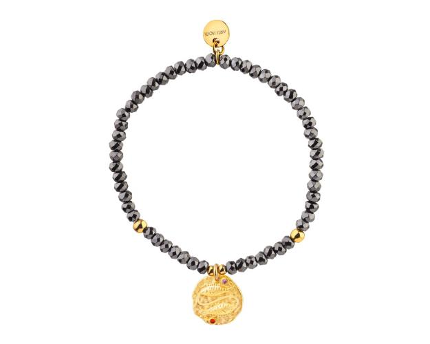 Gold Plated Brass Bracelet with Hematite and Cubic Zirconia - Pisces