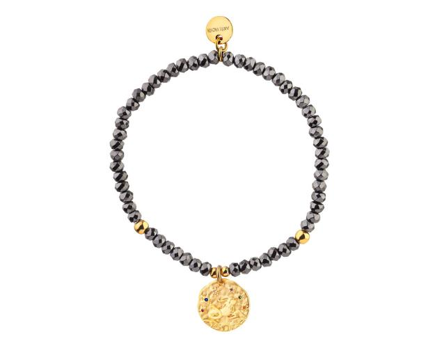 Gold Plated Brass Bracelet with Hematite and Cubic Zirconia - Capricorn