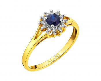 Yellow gold ring with brilliants and sapphire