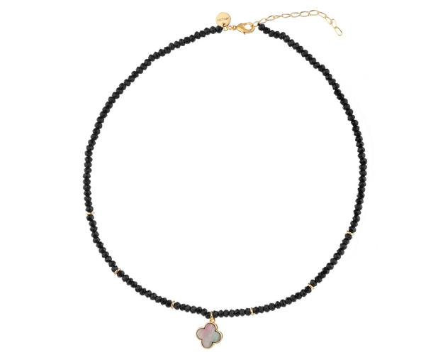 Gold Plated Brass Necklace with Agate & Mother of Pearl