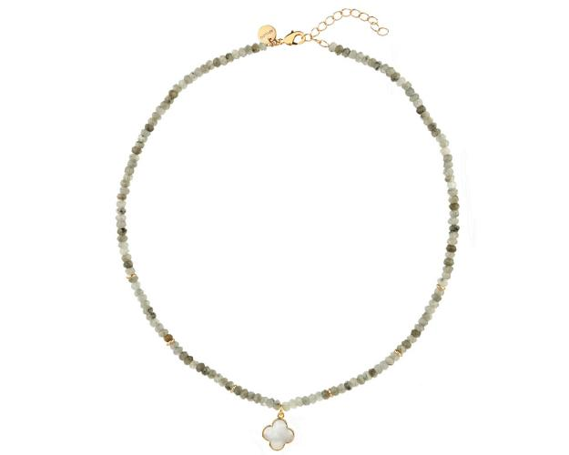 Gold Plated Brass Necklace with Labradorite & Mother of Pearl