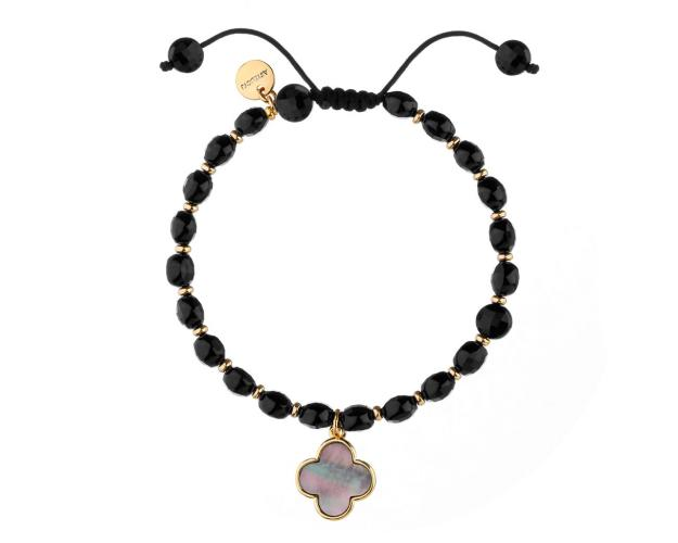 Gold Plated Brass Bracelet with Mother of Pearl & Agate Beads