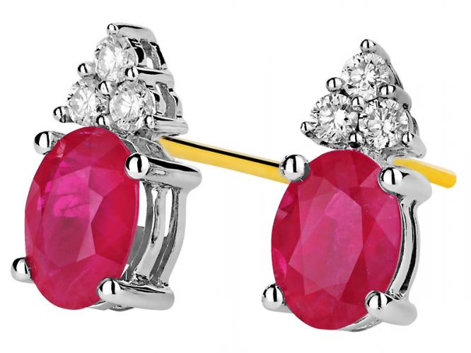 Yellow and white gold earrings with brilliants and rubies