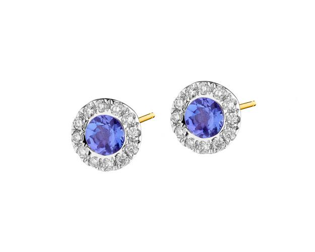 Yellow and white gold earrings with brilliants and tanzanites