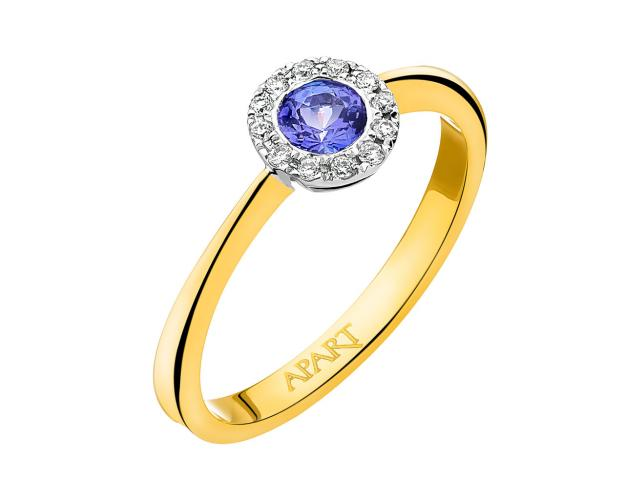 Yellow and white gold ring with brilliants and tanzanite