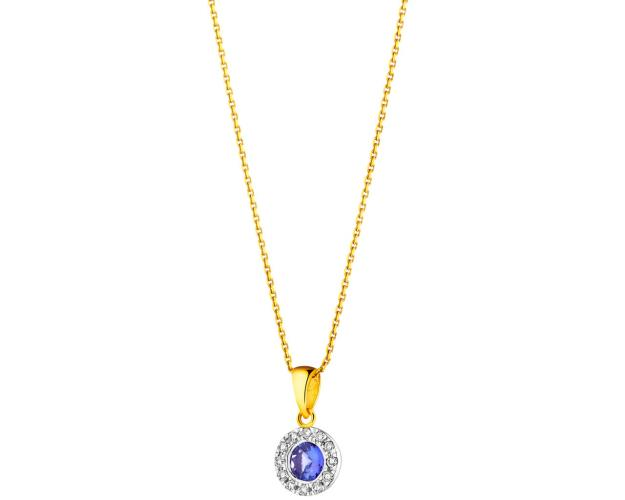 Yellow and white gold pendant with brilliants and tanzanite