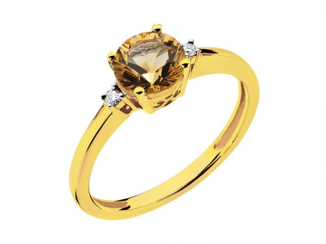 Yellow gold ring with brilliants and citrine