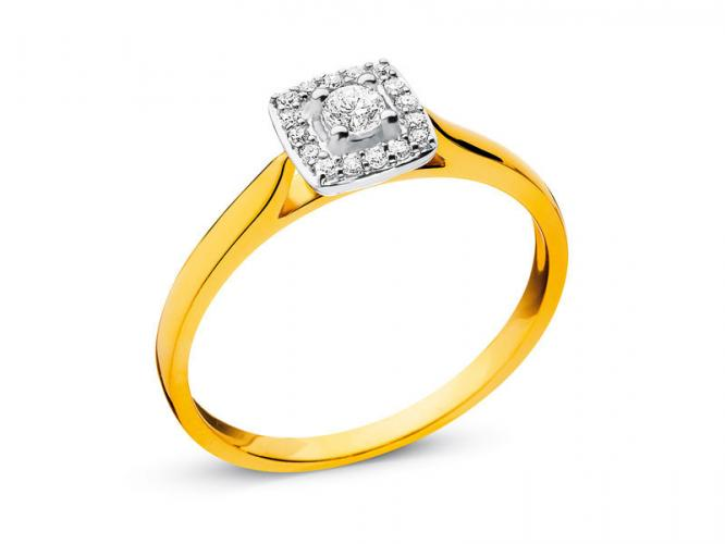 Yellow and white gold ring with diamonds