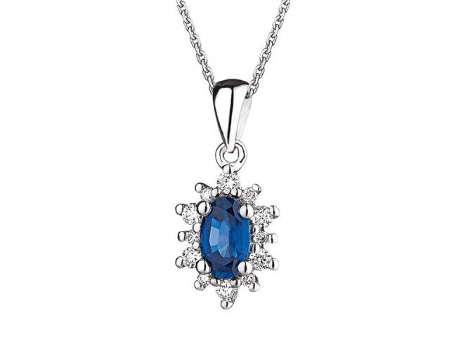 White gold pendant with brilliants and sapphire
