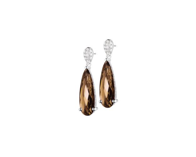 White gold earrings with diamonds and smoky quartz