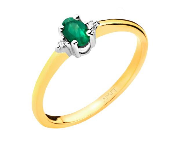 Yellow and white gold ring with brilliants and emerald
