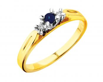 Yellow and white gold ring with brilliants and sapphire