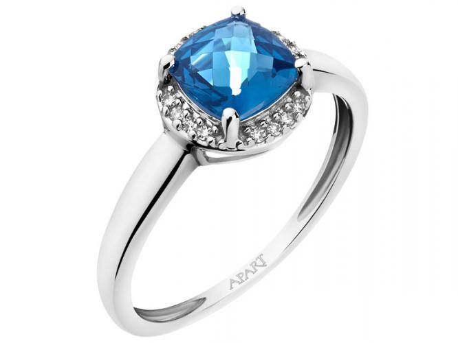 White gold ring with diamonds and topaz (London Blue)