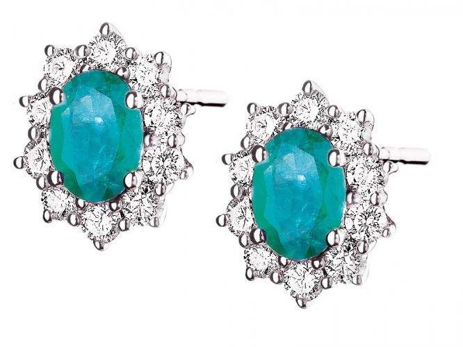 White gold earrings with brilliants and emeralds