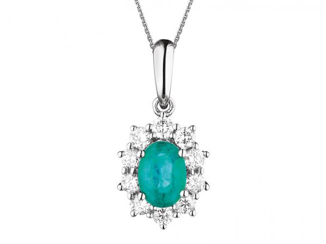 White gold pendant with brilliants and emerald