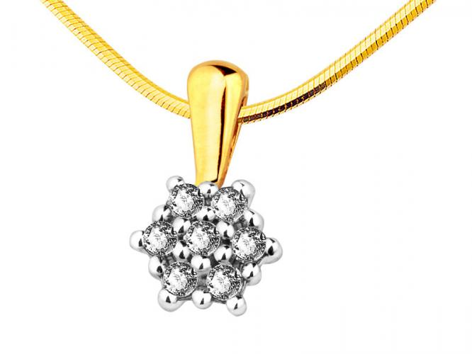 Yellow and white gold pendant with brilliants