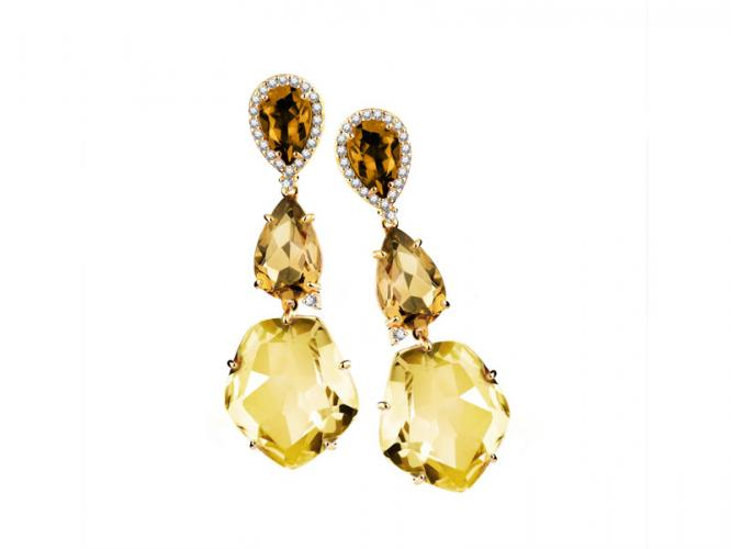 Yellow gold earrings with brilliants and quartz