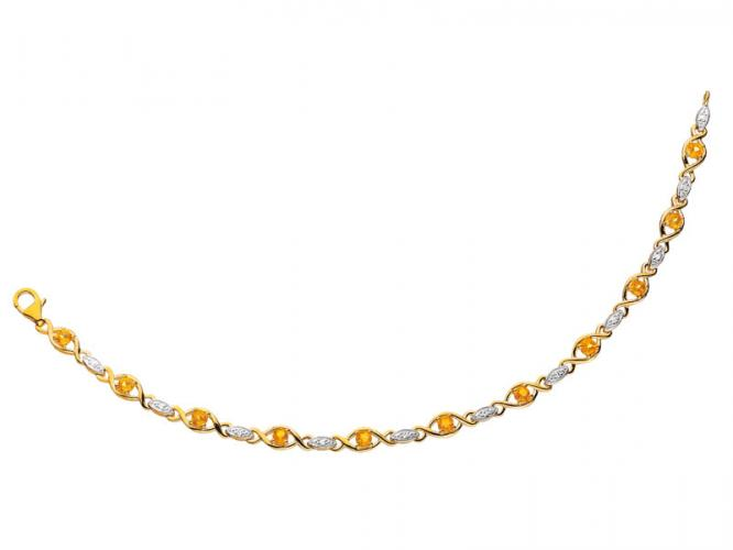 Yellow gold bracelet with diamonds and citrines