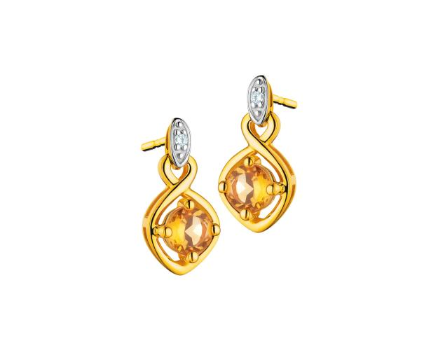 Yellow gold earrings with diamonds and citrines