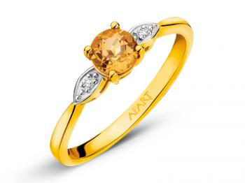 Yellow gold ring with diamonds and citrine