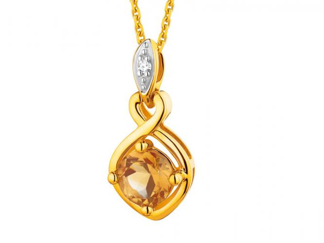 Yellow gold pendant with diamond and citrine