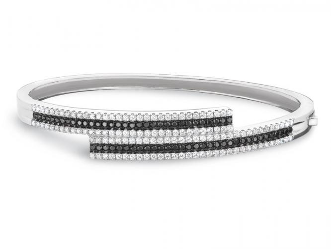 Silver bracelet with cubic zirconias and synthetic spinel