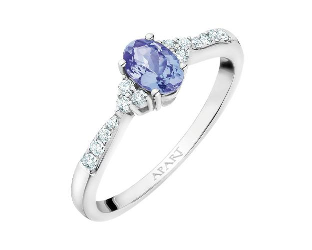 White gold ring with brilliants and tanzanite