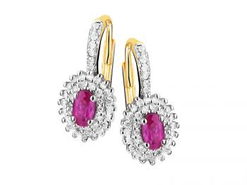 Yellow gold earrings with brilliants and rubies