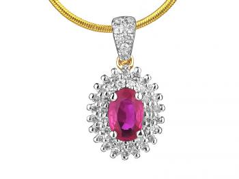 Yellow gold pendant with brilliants and ruby