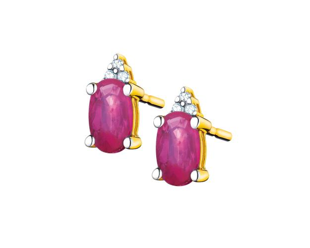 Yellow gold earrings with diamonds and rubies