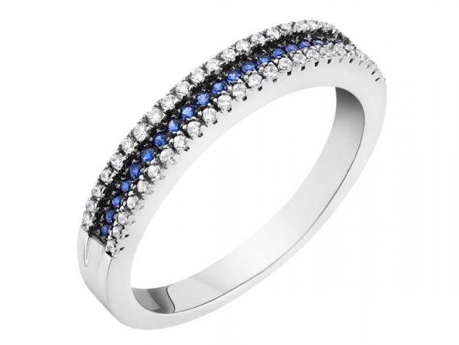 Silver ring with cubic zirconias and synthetic spinel