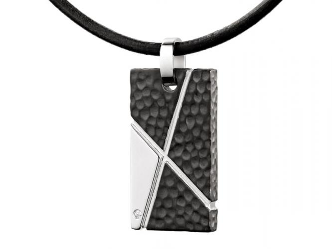 Stainless steel pendant with cubic zirconia