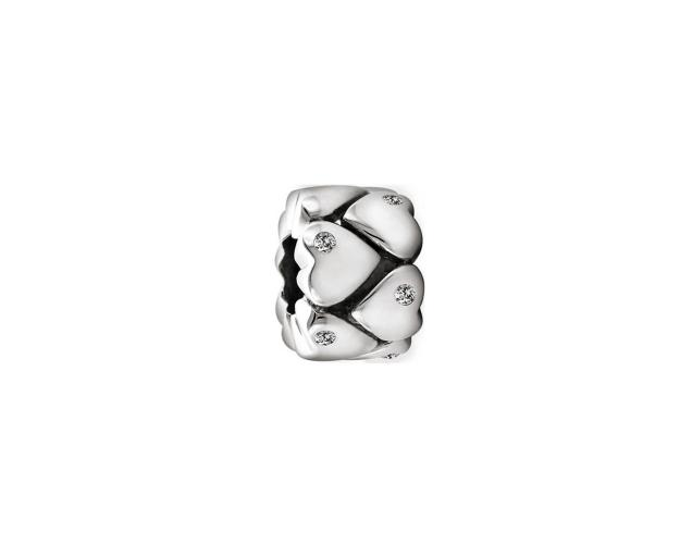 Silver bead with cubic zirconias