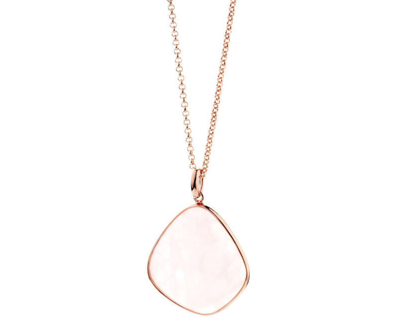 Brass necklace with quartz