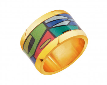 Stainless steel ring with enamel