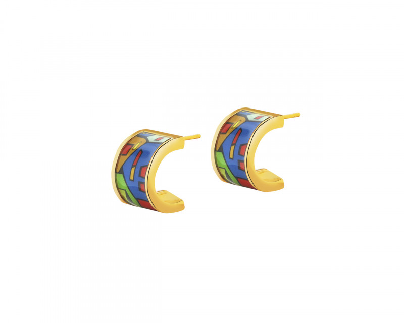Gold plated brass earrings with enamel