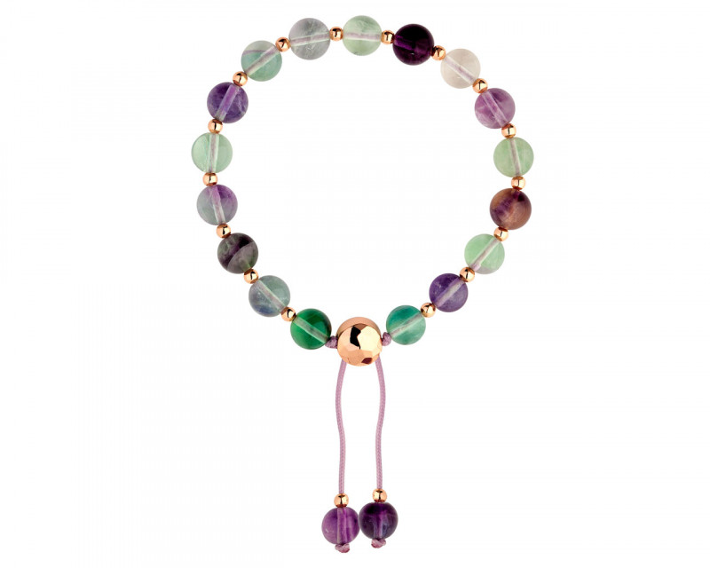 Gold plated brass bracelet with fluorite