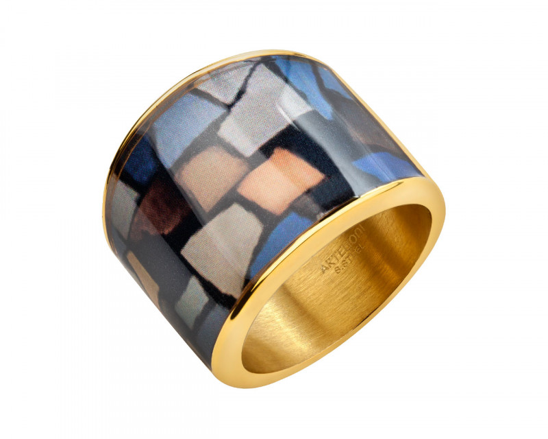 Stainless steel and enamel ring