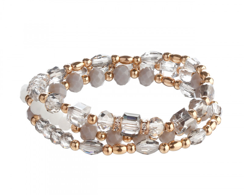 Gold plated brass bracelet with crystals, gemstones and glass beads