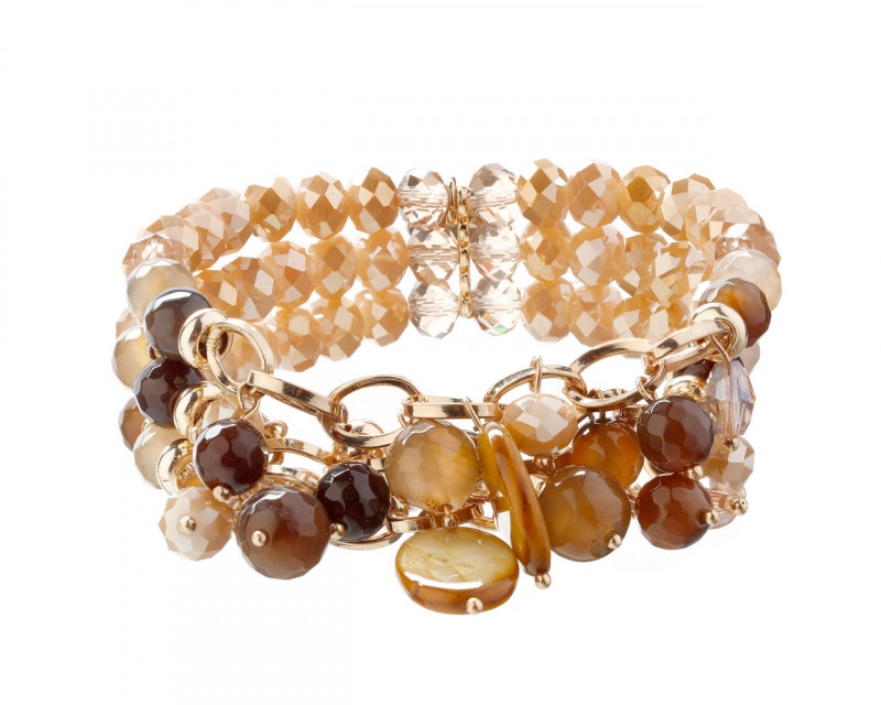 Gold-Plated Brass Bracelet with Agate