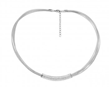 Stainless Steel Necklace with Crystals