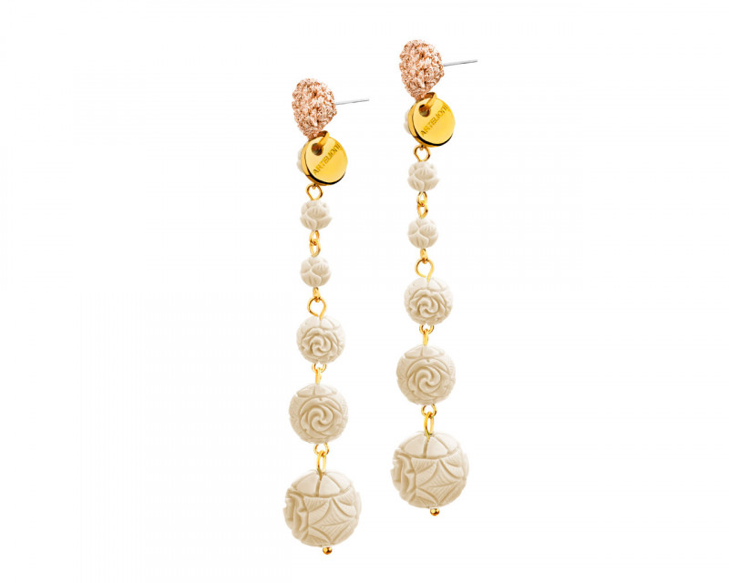 Gold-Plated Brass & Resin Earrings