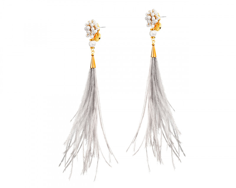 Gold-Plated Brass Earrings with Glass & Genuine Feather