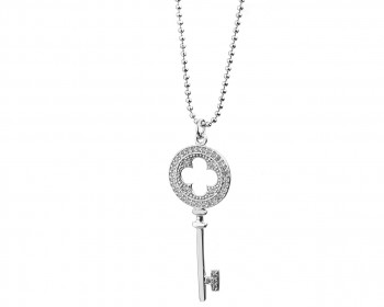 Rhodium-Plated Brass Necklace with Cubic Zirconia