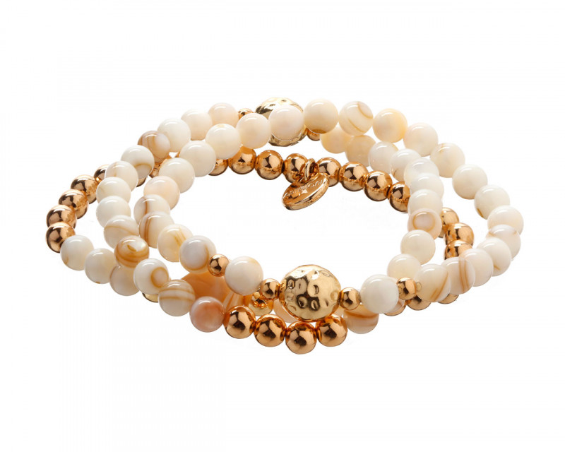 Gold-Plated Brass Bracelet with Mother Of Pearl